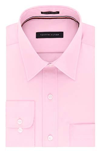 Tommy Hilfiger Men's Regular Fit Non Iron Solid Point Collar Dress Shirt, Desert Rose, 17.5