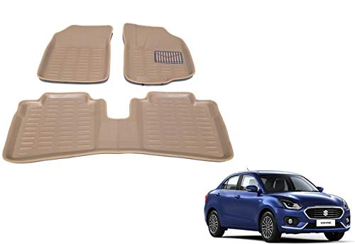 Kozdiko 3D Car Foot mats Beige Color Set of 3 pcs for Maruti Suzuki Swift Dzire 2017