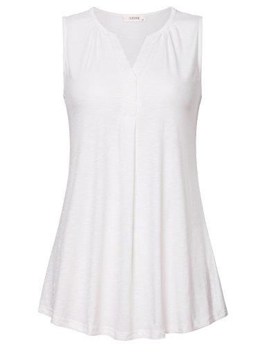 Women's Sleeveless V Neck Henley Tunic Shirt Loose Pleats Knit Tank Tops White L