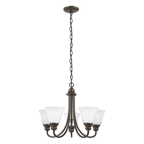 Sea Gull Lighting 35940-782 Windgate Five-Light Chandelier with Alabaster Glass Shades, Heirloom Bronze Finish