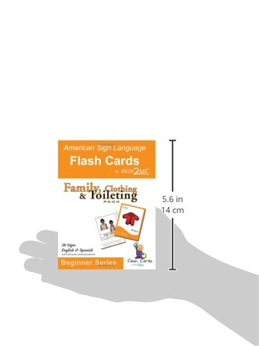 ASL Flash Cards - Learn Signs for Family, Clothing and Toileting - English, Spanish and American Sign Language (Spanish and English Edition) by Sign2me