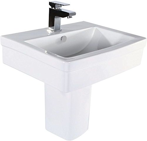 Modern Deisgner Square Basin & Semi Pedestal With One Tap Hole The Bath People