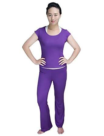 Baihong Women's Soft Yoga/Sports Clothes Pant Set Short Sleeve XXL Purple