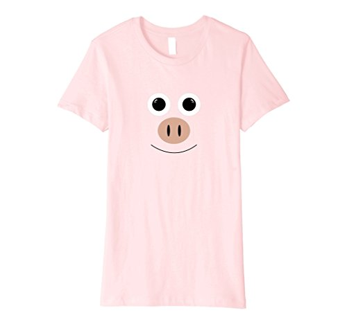 Womens Cute Pig Face Animal Halloween Costume T-Shirt Party Medium Pink -