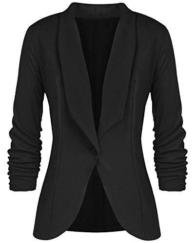 Basique Manches Noir 4 Slim À Blazer Elégant Veste Daffaires Bureau Blousons Femmes Coupe Cintrée 3 Casual 0xx8ZEqB