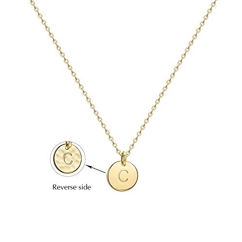 Valloey Gold Initial Pendant Necklace, 14K Gold Filled Disc Double Side Engraved 16.5
