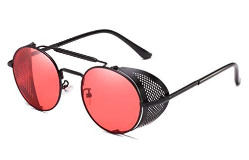 Steampunk Retro Round Sunglasses Metal Frame Men Women Black Red Brand Glasses Designer Fashion Male Female Shades 45472 C6 black (Pirates Black Sunglasses)