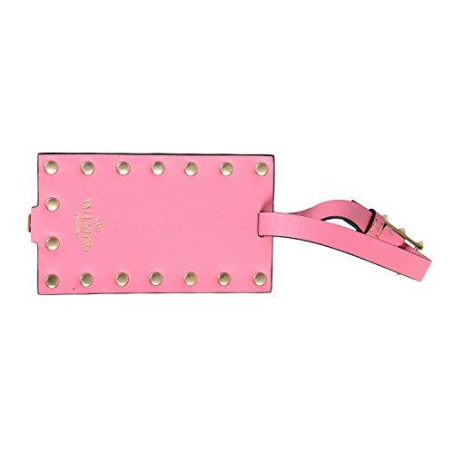 Valentino Garavani Unisex Pink Rockstud Leather Fashion Luggage Tag by Valentino Garavani