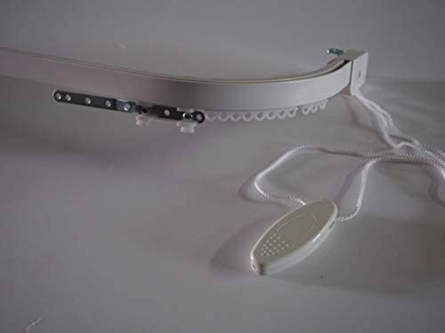 TENDEEVOLUTION Bastone per Tenda – Binario – RILOGA – ZINEFFA – SCORRITENDA in Alluminio Bianco TIRO Corda Curvo (170)