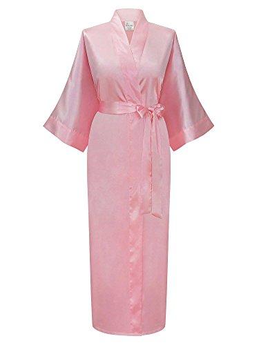 Swhiteme Women's Kimono Robe, Long, One Size (Pink)