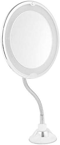 Steppiano 10倍化粧鏡 ホース付き 風呂 鏡 吸盤ロック付き led化粧鏡 メイクミラー 浴室鏡 化粧ミラー 壁掛けメイクミラー 360度回転スタンドミラー 三単電池