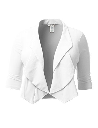 SHOPQUEEN Plus Size Casual Thin Open Front 3/4 Sleeve Stretchy Blazer Jacket Cardigan WHITE 2XL