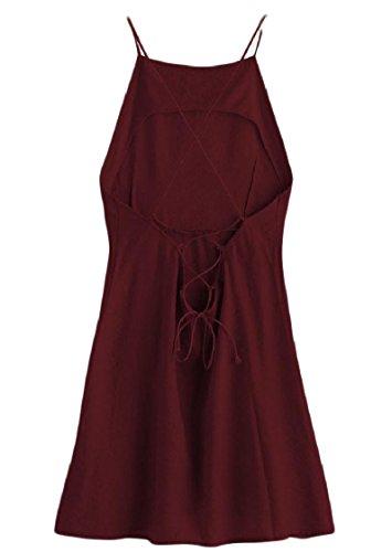 Randello Coolred donne Sexy Backless Vestiti Sling Strappy Rosso Di Dal Vino Trasversale Sera SRxSw8