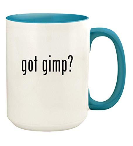 got gimp? - 15oz Ceramic Colored Handle and Inside Coffee Mug Cup, Light Blue