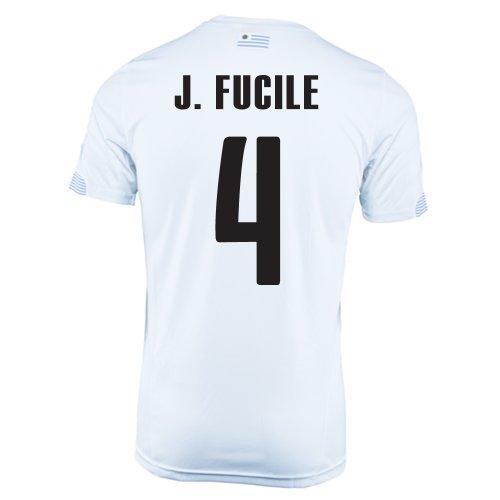 食物郵便番号バランスのとれたPUMA J. FUCILE #4 URUGUAY AWAY JERSEY WORLD CUP 2014/サッカーユニフォーム ウルグアイ アウェイ用 ワールドカップ2014 背番号4 ホルヘ?フシレ