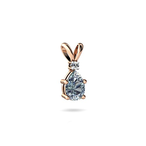 14kt Rose Gold Aquamarine and Diamond 6x4mm Pear Solitaire Pendant 4 Prong Pear Pendant