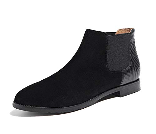 Comfortable Slip Elastic Low Boots Black School Classic Ankle Suede Flats Joymod Dress Women's on MGM top Chelsea Booties 0qYzIx