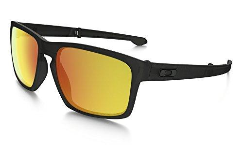 Oakley Men's Polarized Silver Foldable F Sunglasses - Matte Black Ink/Fire Iridium
