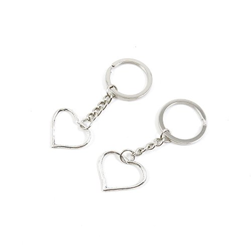 100 Pieces Keychain Door Car Key Chain Tags Keyring Ring Chain Keychain Supplies Antique Silver Tone Wholesale Bulk Lots W9VY6 Love Heart by WOWGAME2009 KEYRING (Image #1)