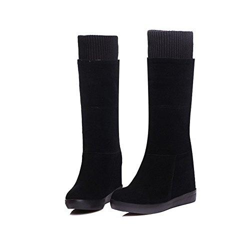 Allhqfashion Para Mujer De Tacón Alto Imitación De Gamuza Sólido Botas De Tacón Alto Negro