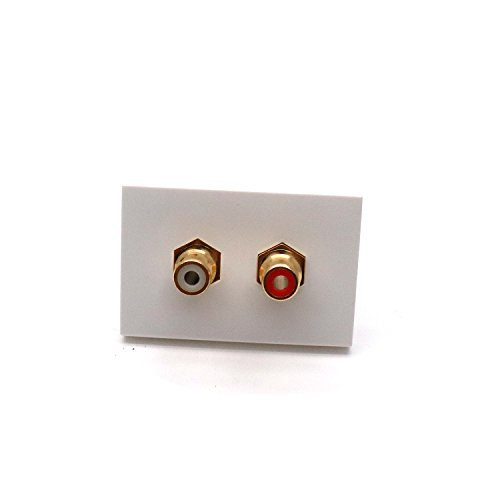 (Yootop 2 Connector Wall Plate Insert Module, Female RCA Stereo Couplers for Subwoofer Audio Port)