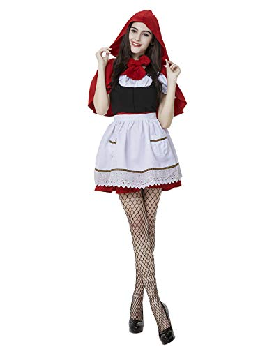 HDE Women's Red Riding Hood Halloween Costume Adult Sized Storybook Outfit Dress with Red Hooded Cape (Red, Medium) -