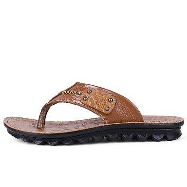 Sandalias de verano zapatos de hombre Casual / exterior de cuero marrón / Amarillo Flip-Flops Amarillo
