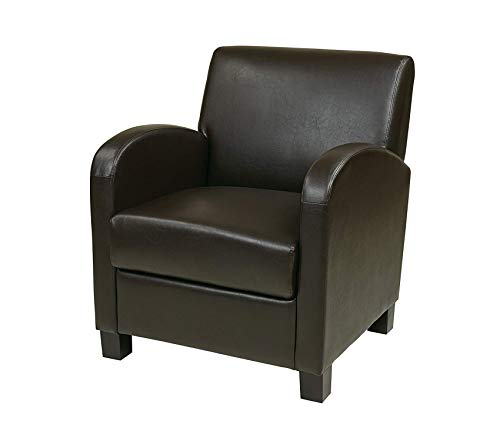 Premium Metro Faux Leather Club Chair with Espresso Finish Legs, Espresso