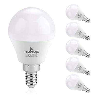 6 watt(60w Equivalent) Hansang LED Bulbs E12 Screw Base Candelabra Round Light Bulb 600 Lumen,High CRI,Soft White 2700K,G14 Decorative Bulb Non dimmable for Ceiling Fan Pack of 6