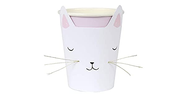 Pack of 8 Meri Meri Cat with Whiskers Cups Suitable for Hot /& Cold Drinks
