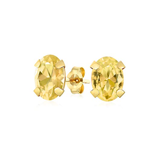 (1.6CT Oval Shaped Yellow Gemstone Citrine Stud Earrings For Women Real 14K Yellow Gold 7X5MM November)