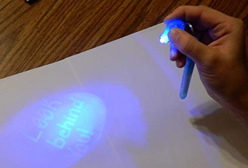Spy Pen Black Light UV LED Party Kit - 9 Spy Pens 3 Unique Invisible Ink Colors to Light up with UV Flash Lights - 6 Fluorescent Neon Markers so Kids can Draw Fun Posters to Fluoresce by UV Lamp by BLT for Kids (Image #6)