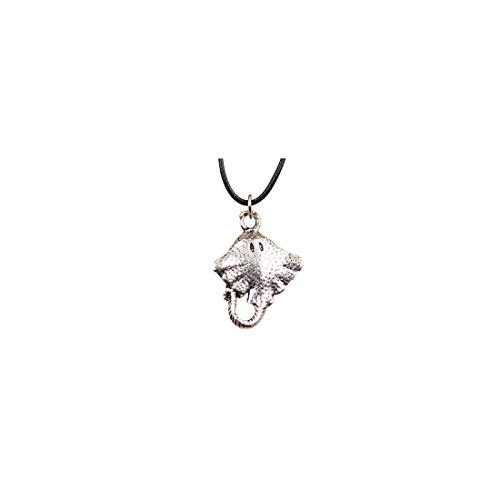 GIRBBY Fashion Tibetan Silver Pendant Stingray Fish Necklace Choker Charm Black Leather Chain