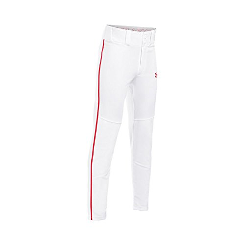 Under Armour Boys' Heater Piped Baseball Pants, White/Red, Youth Medium