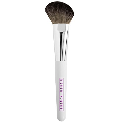 Wide Bronzer & Blush Make Up Brush - Makeup Application Brushes for Precision Contour - Goat Hair Bristle with Wooden Handle - French -