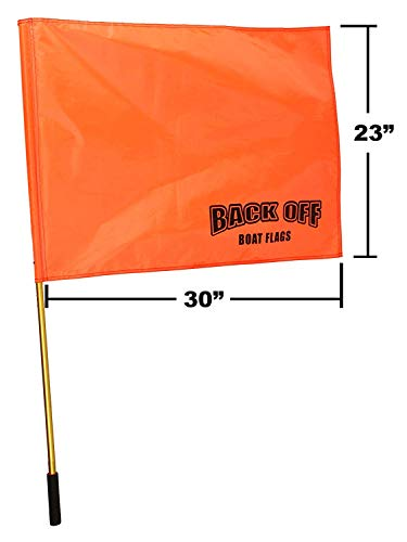 (Back Off Boat Flags Giant Orange Boating Safety Flag with Pole for Water Skis Wakeboarding and Tubing - Universal Safety Skier Down Flag)