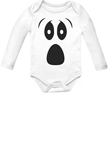 [Baby Halloween Ghost Costume Outfit Cute Infant Baby Long Sleeve Bodysuit Newborn White] (Ghost Baby Halloween Costume)