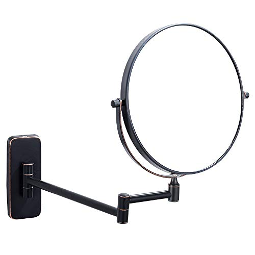NiceVue Thanksgiving Friday Black Makeup Mirrors For Wall 8 Inch, Double-Sided 10x -