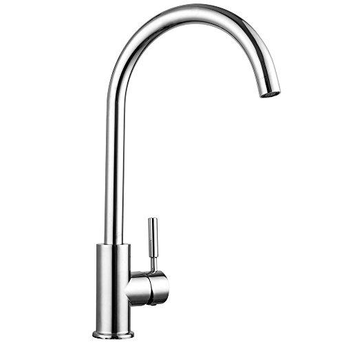 Chrome Commercial Single Handle (SARLAI Best Commercial Solid Brass Chrome Hot& Cold Single Handle Kitchen Sink Faucet, Single Lever Kitchen Faucets)