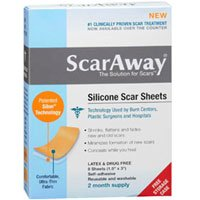 ScarAway Silicone Scar Sheets (1.5'' x 3'') 8 ct (Pack of 4)