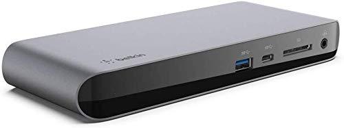 Belkin Thunderbolt 3 Pro Base Dock con Cable Thunderbolt 3 de 0.8 m (Compatible con macOS y Windows, 2 monitores DisplayPort 4K/HD, 40 Gbps, 85 W de Power Delivery, Lector de Tarjeta SD)