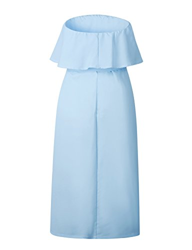 Button Solid Summer Tie Midi Dresses Light Dress Women Strapless Waist Off Ruffled Shoulder Down Casual Blue Pleated Pockets WOcUq8qXwx