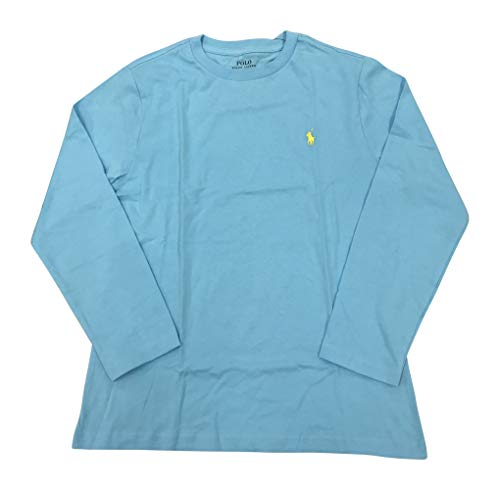 Boys Polo Long Sleeve Cotton Tee (M(10-12), French Turquoise) ()