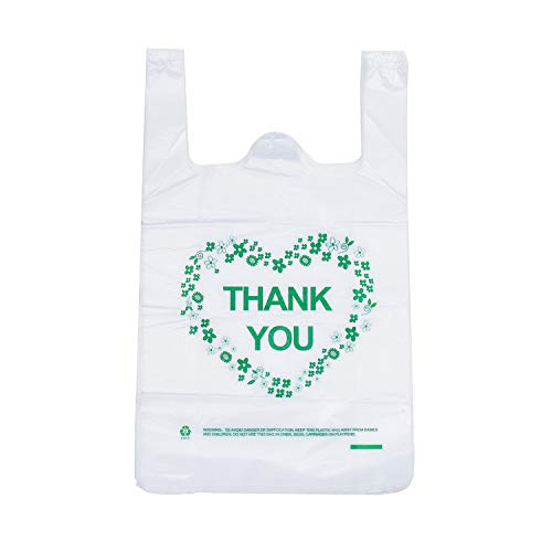 LazyMe 12 x 20 inch Thank You Plastic Sturdy T Shirt Bags, for Christmas Handle Merchadise Bags, Multi-Use Mudium Size, White Plain Grocery Bags, Durable (Green 100pcs) ()