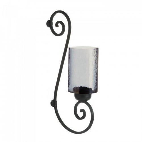 KOEHLER Smoked Glass Wall Sconce Candle Holder