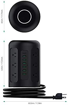 AUKEY Power Strip Surge Protector 6 USB Ports and 12 AC Outlets with 5 Foot Heavy Duty Extension