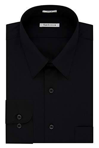 Van Heusen Men's Poplin Regular Fit Solid Point Collar Dress Shirt, Black, 18.5