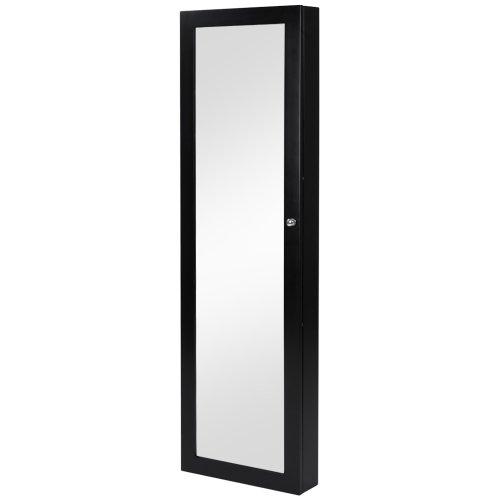 Miadomodo - SMSK03-SWZ - Espejo con joyero de pared - Negro - Aprox. 120 x 36 x 9,5 cm - Dos colores a elegir