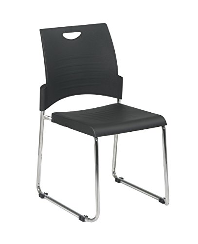 Back Stacking Chairs Steel (Office Star Plastic Seat and Back Stacking and Ganging Chair with Chrome Finish Steel Frame, 2-Pack, Black)