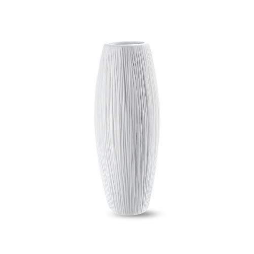(D'vine Dev Small White Ceramic Vase for Flowers 8 Inches - Waterfall Textured Elegant Design - Ideal Gifts for Friends Box Packaged)